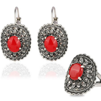 Hot Sale Bohemian African Beads Classic Jewelry Set Antique Silver Color Ruby Opal Resin Ring+Earring Jewellery
