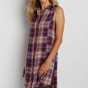 sleeveless button down tunic top in multicolor plaid   maurices