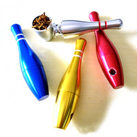 Bowling Smok Metal Pipes Portable Creative Smoking Pipe Herb Tobacco Pipes Gifts Narguile Weed Grinder Smoke Random Delivery
