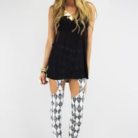 CUTOUT CHECKERED LEGGINGS - Black/White