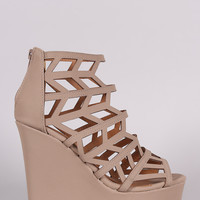 Qupid Nubuck Geometric Cage Platform Wedge