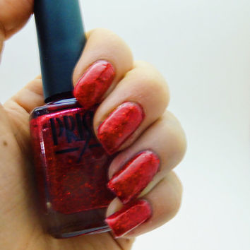 Santa's Belly- 5 Free, Red Glitter Nail Polish
