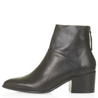 MIDNIGHT Leather Zip-Back Boots - Black