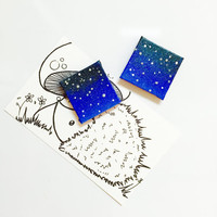 Constellations Magnet Orion Stars Canvas Acrylic Hand Painted Glow in the Dark