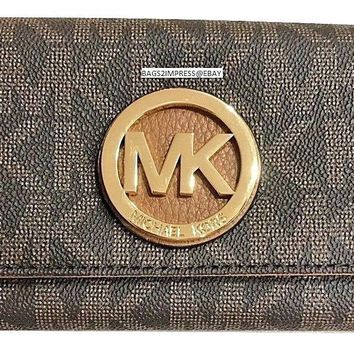 MICHAEL KORS FULTON FLAP CONTINENTAL CARRYALL CLUTCH WALLET BROWN / ACORN $178