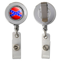 Confederate Rebel Flag Retractable Reel Chrome Badge ID Card Holder