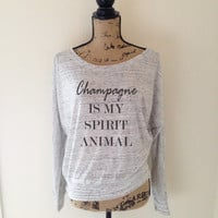 Champagne is My Spirit Animal Tank Top in Heather White - Womens Tank Tops - Party Summer Tops - Bachelorette Tops - Beach Tank Tops