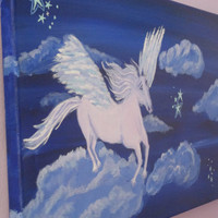 Girls Wall Art, Dreamscape, Fantasy Painting, Pegasus, Castle Art on Canvas