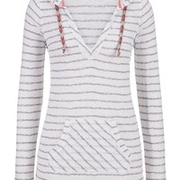 Striped Pullover With Hood - White