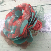 Tiffany Blue & Coral Vintage Baby/Girls Couture Flower Headband, M2M Matilda Jane and Persnickety, Boutique Style Shabby Vintage Chic, Babys