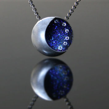 Moon Phase Necklace, Crescent Moon & Sky Necklace, Moon Sky Stars Necklace
