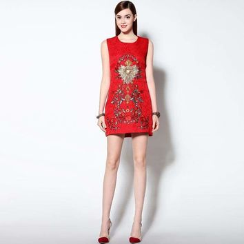 Luxurious Spring  High Quality Three-dimensional Beading Embroidered  Sleeveless Red Cotton Tank Mini  Dress