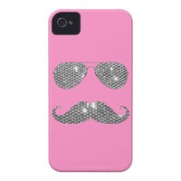 Funny Diamond Mustache With Glasses iPhone 4 Case-Mate Case from Zazzle.com