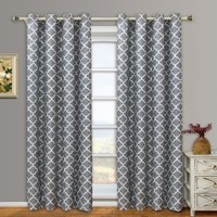 "Pair of Two Top Grommet Blackout Thermal Insulated Curtain Panels, Triple-Pass Foam Back Layer, Elegant and Contemporary Meridian Blackout Panels, Navy, Set of Two 52"" by 84"" Panels (104"" by 84"" Pair)"