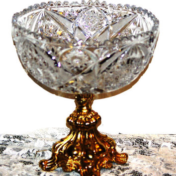 Crystal and Brass Pedestal Bowl 9 1/2 Tall Ornately Designed