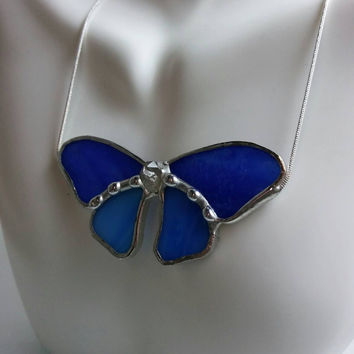 Stained Glass Butterfly Necklace, Two Toned Blue Glass & Crystal Point Body