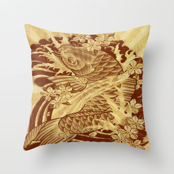 cool unique vintage japanese tattoo koi fish sun rays vector art Throw Pillow by Chicelegantboutique