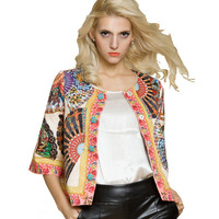 Plus Size 2017 Spring Autumn New Fashion Daily New Europe Women Half Sleeve Beautiful Button Tassel Fan Printed Short Jacket