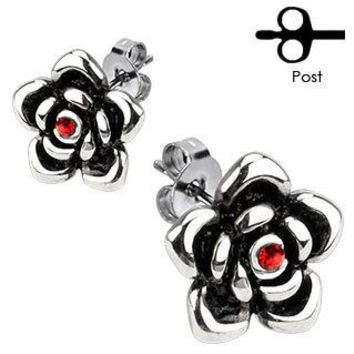 Everlasting Rose Earrings - Stainless Steel Rose Flower Design Post Earrings With Ruby Red Cubic Zirconias