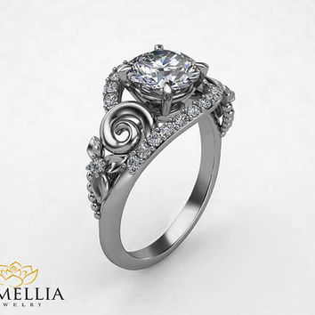 14K White Gold Diamond Ring,Engagement rings,Leavs and Flower Ring,Unique Engagement Ring,Art Deco,Floral Ring,Nature Inspired Design.