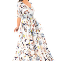 Floral print cambric smocked waist maxi dress
