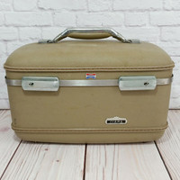 Vintage Tan Train Case American Tourister Tiara Cosmetics Case With Tray
