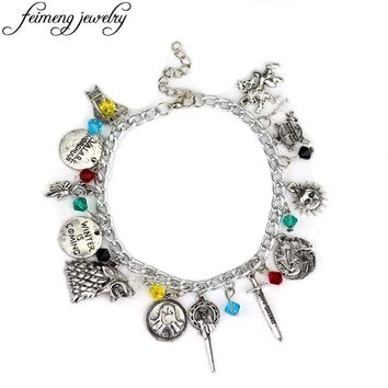 Game Of Thrones Charm Bracelet  Hand of the King Targaryen Dragons Badge Winter Is Coming Wolf Head Bracelets For Fans Gifts