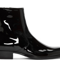 Handmade Men Fashion Black Patent Leather Boots, Men Side Zipper Ankle Boot
