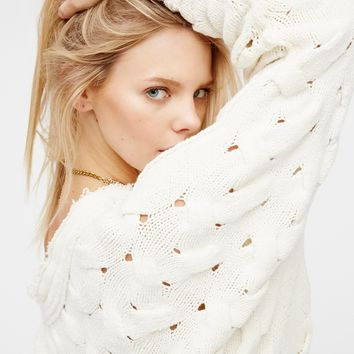 Free People Desert Sands Cable Pullover