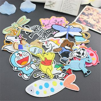 Sewing Clothes Gun Patch Iron On Embroidery Patches Hotfix Applique Motifs Sew On Garment Stickers horse popcorn candy Cool New