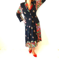Exquisite Suit COUTURE Marsha for Componix vtg 80s Rhinestones Floral Party  Pin-up wiggle Women M/L