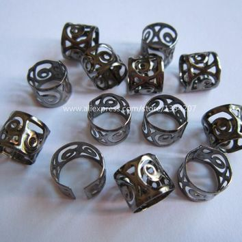100Pcs/Lot Gun Black Color 10/8.5mm hair dread dreadlock Bead adjustable cuff clip approx 9mm hole clip