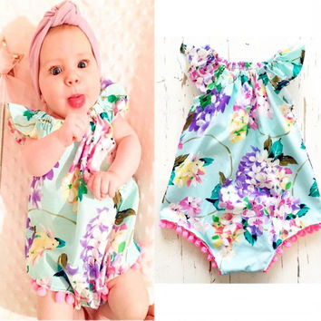 Summer Newborn Kids Baby Girls Clothes Floral Bodysuits Jumpsuit Sunsuit Cute Bbay Girl Clothes 0-18Months