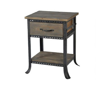 Reclaimed Gray Cirque Accent End Table with Drawer