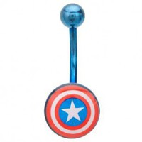 Captain America 316L Surgical Steel Blue Navel Ring - 14G (1.6mm) - Sold as a Single Item