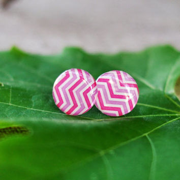 Hot Pink Chevron Earrings Pink Bridesmaid Jewelry Bridesmaid Earrings, Resin Post Earrings With Pink Stripes, Pink Candy Earrings