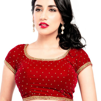 Classic Red Velvet Party-wear Saree Blouse KP-87