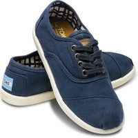 Navy Canvas Youth Cordones