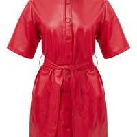 Red Button Up Tie Waist PU Shirt Dress