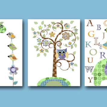 Elephant Nursery Baby Boy Nursery Decor Children Art Print Baby Nursery Print set of 3 11x14 Alphabet Nursery Alphabet Green Giraffe Nursery