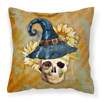Day of the Dead Witch Skull  Fabric Decorative Pillow BB5126PW1414