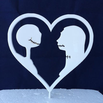 The Nightmare Before Christmas - Jack Skellington & Sally -  Disney - Cake Topper - Acrylic - Wedding