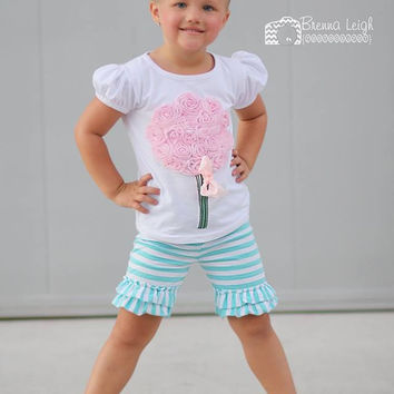 Mint & White Stripes Double Ruffle Shorties Shorts - Toddler & Girl Sizes!