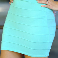 Banded With Love Skirt: Mint