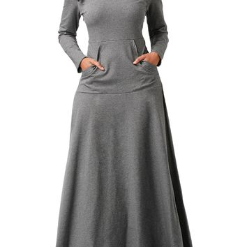 Dripped Collar Sheer Long Dress with Pockets