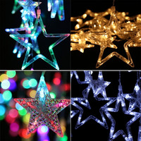 Homdox Waterproof Home Outdoor Holiday Christmas Light LED Hanging Star Curtain String Lights