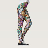 Floral mandalas creative circles art pattern leggings