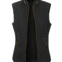 LE3NO Womens Quilted Faux Fur Zip Up Puffer Vest with Pockets