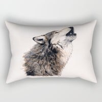 Grey wolf Rectangular Pillow by Savousepate