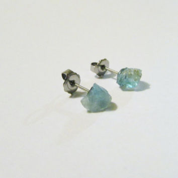Madagascar Apatite Raw Rough Natural Stone Post Earrings | Apatite Studs | Blue Green Earrings | ap005 | Gemstone Posts | Christmas Gift